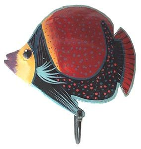 Red U0026 Black Tropical Fish Wall Hook   Hand Painted Metal Bathroom Decor   Tropical  Decorating