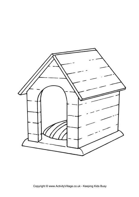 free dog house coloring pages