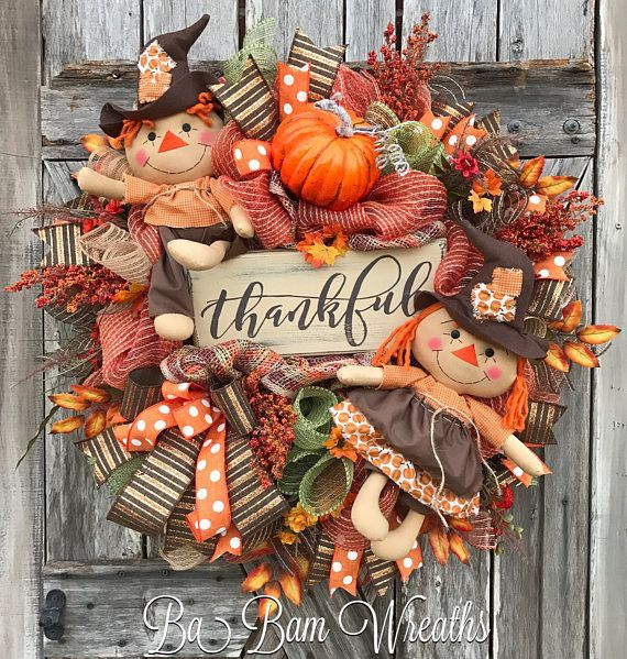 Scarecrow Fall Wreath Primitive Autumn Wreath Fall Wreath