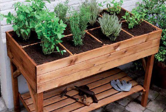 Mesa de cultivo de madera rectangular PIMPRENELLE(Diy Garden Balcony)