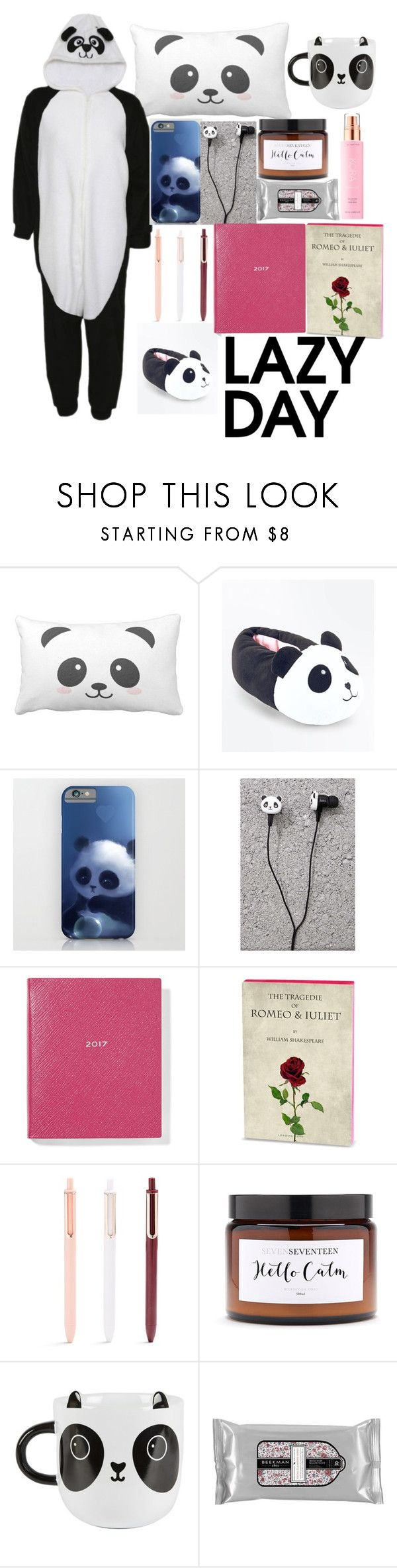 """Panda day"" by saraholly ❤ liked on Polyvore featuring New Look, Forever 21, Smythson, Sass & Belle, Beekman 1802 and KORA Organics by Miranda Kerr"