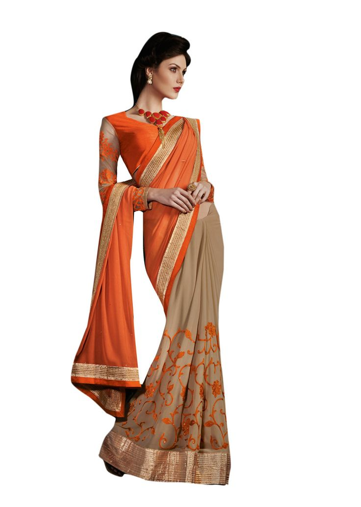 Description:- Beige & Orange color Georgette fabric Saree comes with Beige & Orange Color Bhagalpuri & Net Fabric Orange Color Stitched Embroidery worked Blouse. This Saree has Beautiful Stone Work on Pallu and Orange color Floral Stitch Embroidery work on Lower part with Copper Color Beautiful Lace border work with two side pipping. The Blouse can be Stitched upto size 44. Rate:- 2975/- For bookings:- Ring or Whatsapp on +919870725209 Shipping in India:- Free Cash on Delivery:- Available in…