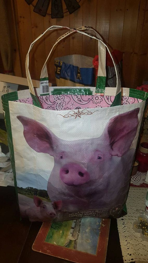 Recycled feed sack bag/purse/tote pig w/pink by THELUCKY13CRAFTS