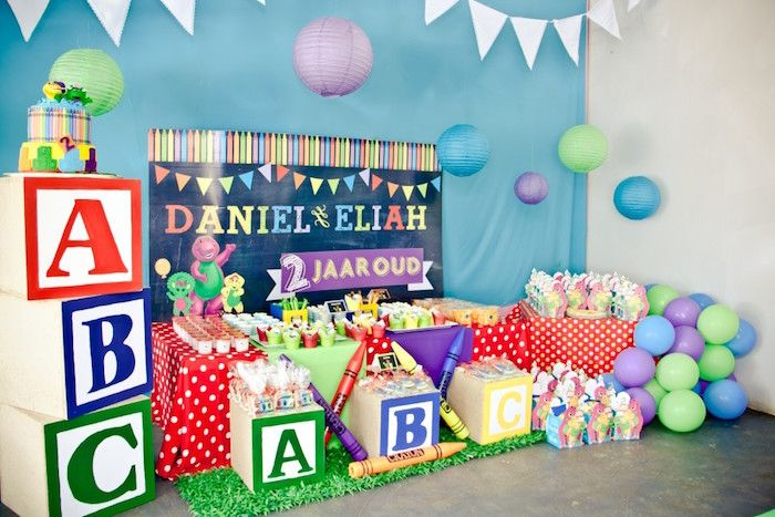 Sweet Table from a Barney & Friends ABC Birthday Party via Kara's Party Ideas | KarasPartyIdeas.com (4)