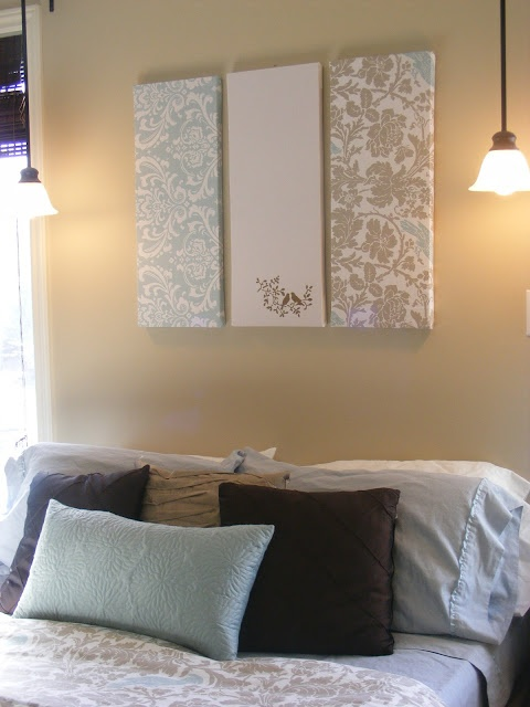 The Complete Guide to Imperfect Homemaking: Simple, Thrifty DIY Art  I'm kinda liking the hanging lights on either side of the bed too. Would be great if they were on a dimmer too!