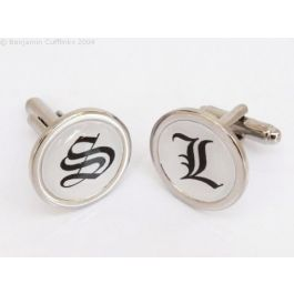 Custom Cufflinks - Personalised Initial Cufflinks (Round) - made to order