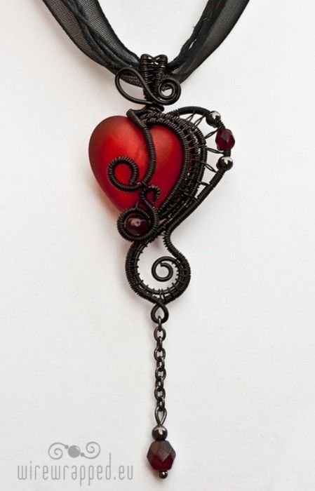 Red Heart Jewel in black metal setting - unique jewelry