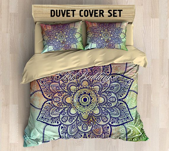 Bohemian bedding, Bohemian queen / king / full / twin duvet cover, colorful lotus mandala duvet cover set, Boho duvet cover, boho bedding