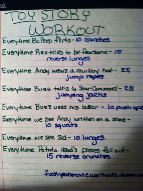 Toy Story movie workout!    Want to see more movie workouts? Follow us here.