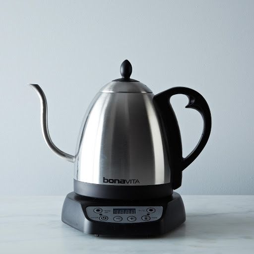I got this for Christmas 2015 - I love it!  Bonavita Gooseneck Electric Variable Temperature Kettle on Provisions by Food52