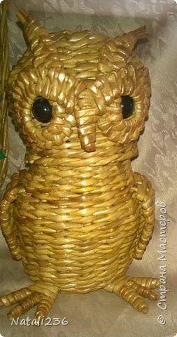 Проект Плетение Мой проект из газетных трубочек Лампа-ночник настенная рамочка шкатулка Совушка Трубочки бумажные фото 6