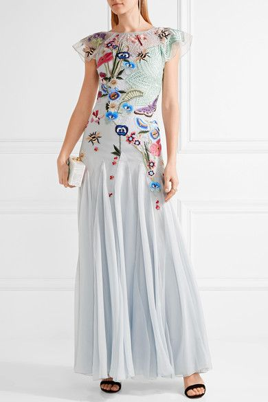 Temperley London Sky-blue silk-blend lace, tulle and georgette  Concealed hook and zip fastening at back 70% silk, 30% nylon; lining: 93% silk, 7% elastane Dry clean