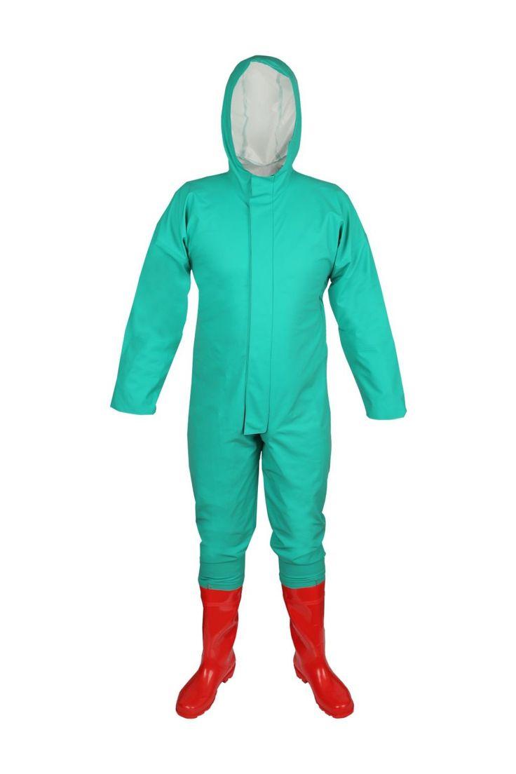 COMBINAISON DE PROTECTION CHIMIQUE Modèle: 424/K La combinaison, avec les bottes chimiques en PVC, est fabriquée en tissu de protection chimique appelé Plavitex Chemo. Le produit possède la capuche fixe et la fermeture à glissière sous le rabat à boutons-pression. Les extrémités de manches élastiquées offrent une protection supplémentaire contre les substances chimiques. Le produit est recommandé à être utilisé dans les usines où le contact avec les produits chimiques est possible.