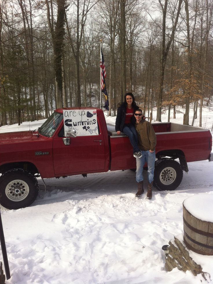 "#promposal #prom #redneck  ""Are you CUMMINS with me to prom?""  Promposal to him from her"