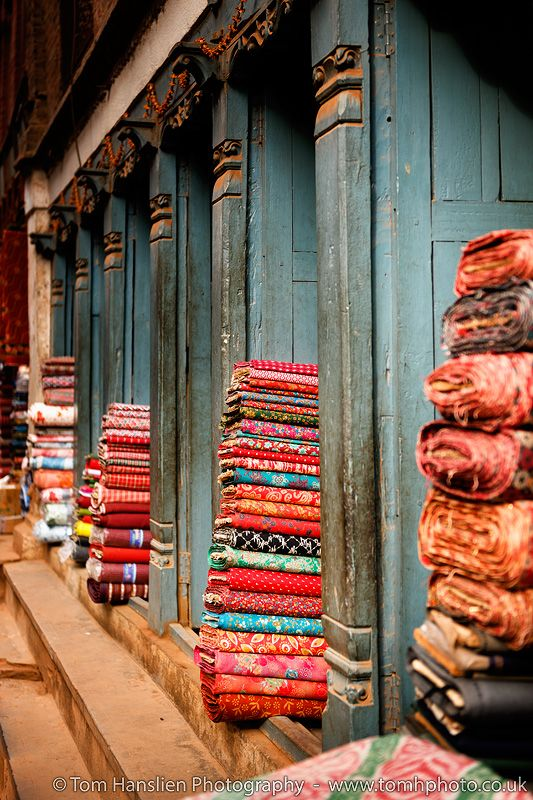 Textile shop in the ancient city of Bhaktapur, an UNESCO World Heritage Site in Nepal.