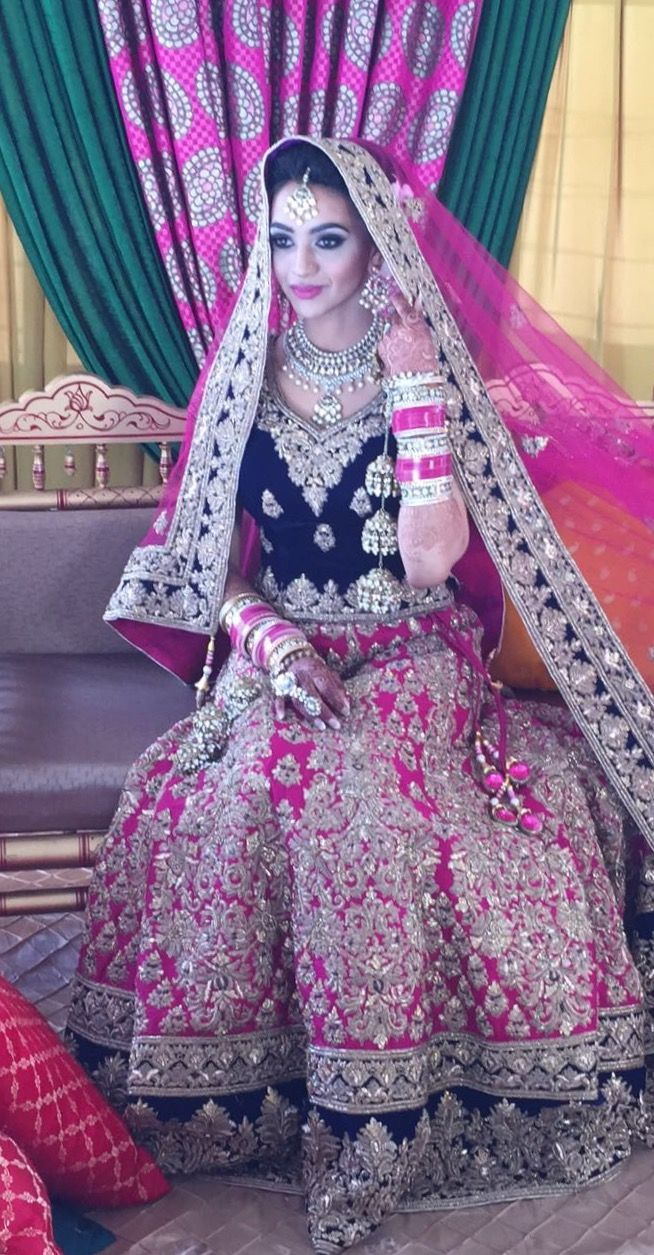 pink and blue lehnga indian bride - loved & pinned by www.omved.com