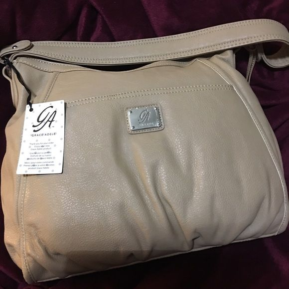 NWOT Grace Adele Purse, Tan, Front snap pocket, back hidden zip pocket,