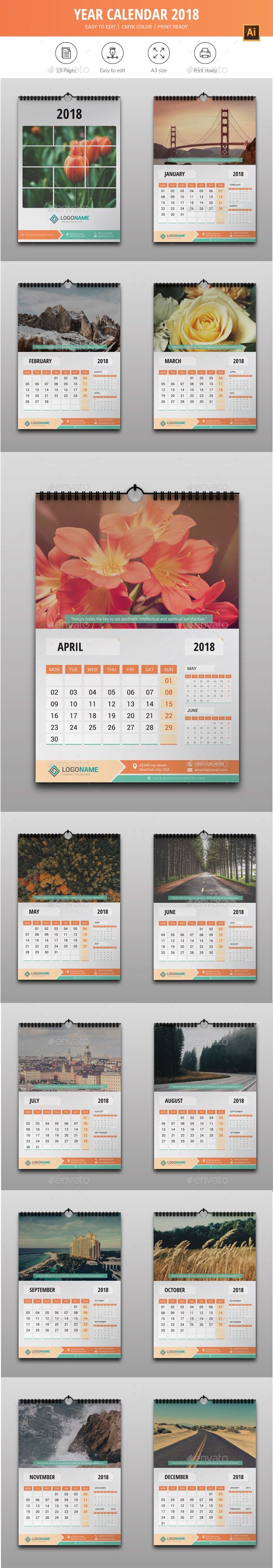 Year Calendar 2018 - #Calendars #Stationery