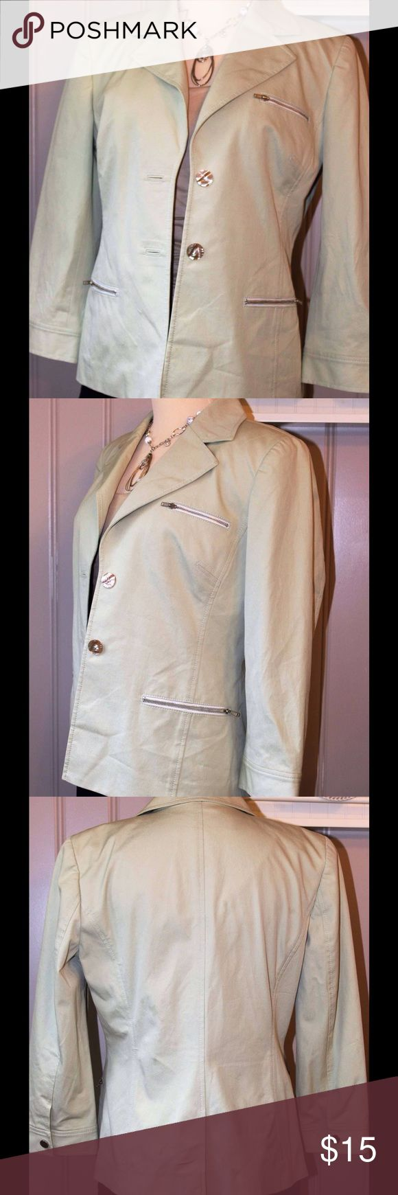 Zipper jacket, w/ 3/4 sleeves This little light chartreuse colored jacket, is very trendy with out zipper pockets and the oversized shell  buttons.  Has a little stretch and light weight.  A cute little jacket for the office or everyday. Doncaster Jackets & Coats Blazers