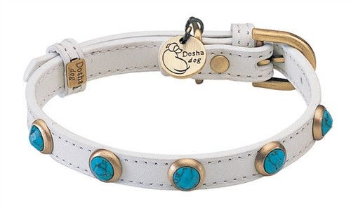 Genuine Turquoise Pebbies Faceted Leather Dog Collar by Dosha Dog