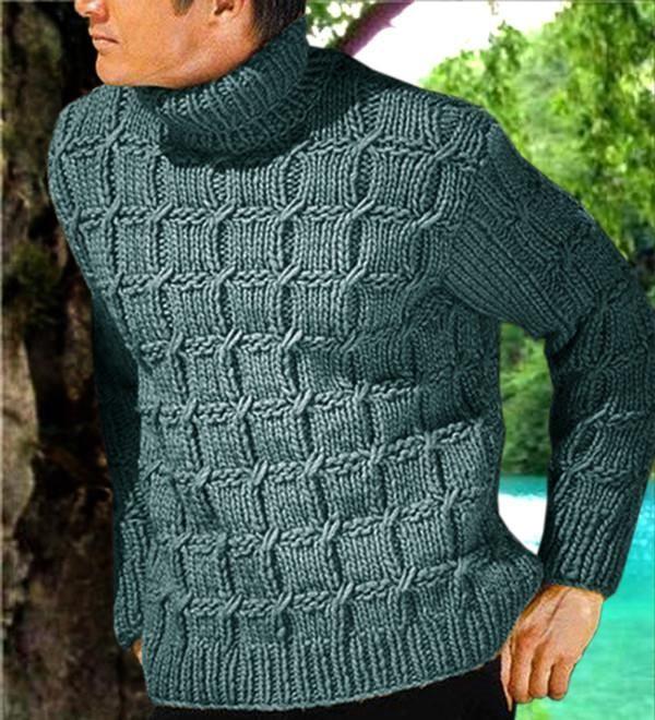Men's Hand Knitted Wool Turtleneck Sweater 52B