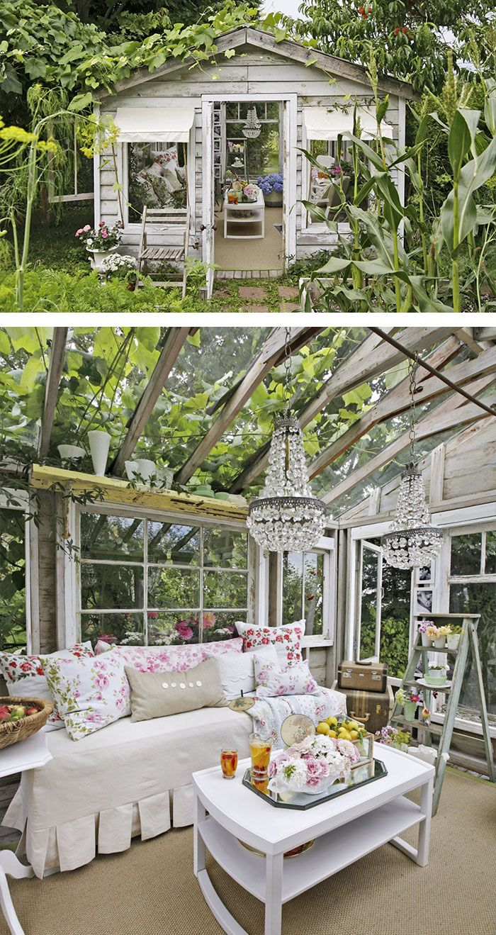 My Dream Come True - A Shabby Chic She Shed with chandeliers and lots of shabby furniture. This looks amazing! Can you imagine something like this in your garden?