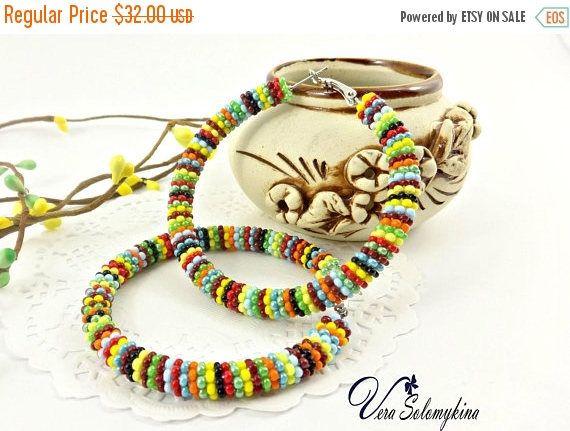 CIJ Seed Bead hoop earrings, African Earrings, Zulu Earrings, Masai jewelry, Native Beaded Hoop Earrings, Ethnic earrings, Beadwork jewelry