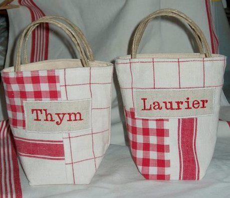 Mini cabas Thym ou Laurier patchwork torchons