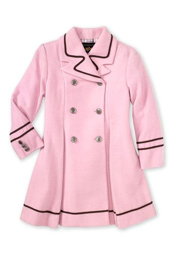 Adorable baby girl pea coat. It is a pink faux fur with bits of silver through out which makes it dressy. It is lined with a soft satin pink and has a hood for warmth.