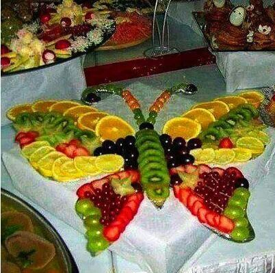 love this for a summer party. butterfly fruit/food art.  #provestra