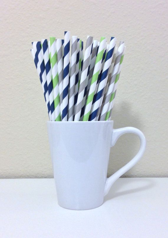 Paper Straws - 25 Navy Blue, Gray, Light Green Striped Party Straws Seattle Seahawks Birthday Wedding Baby Shower Bridal Shower Graduation on Etsy, $3.60