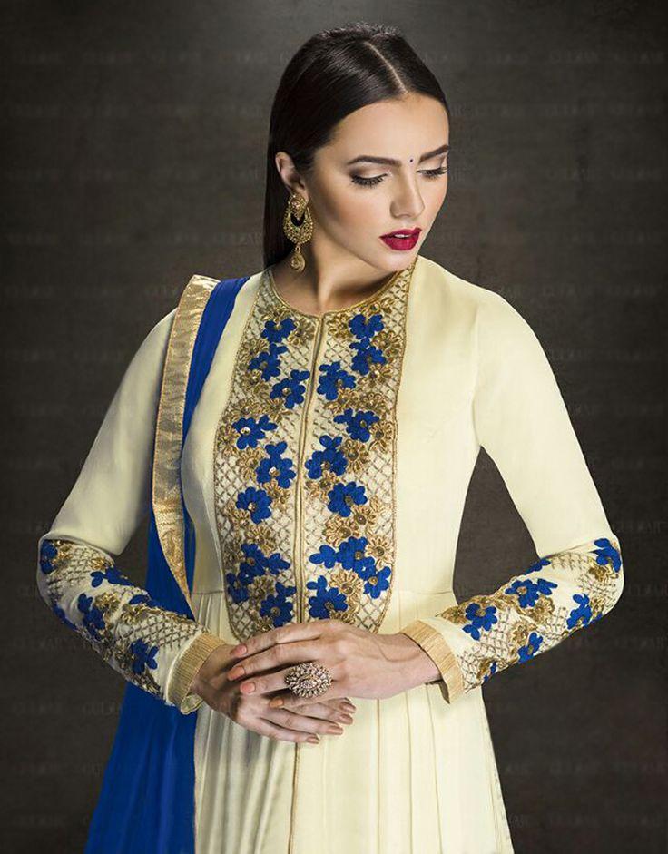 Cream Faux Georgette Designer Anarkali Suit 76916