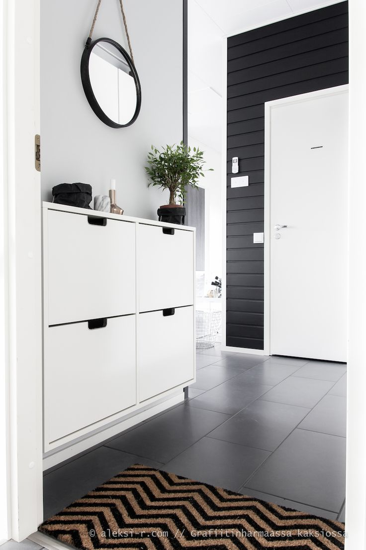 black u0026 white foyer and i recognize the shoe storage cabinet by ikea simple u0026