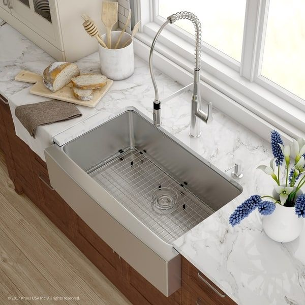 Kraus 33 Inch Farmhouse Single Bowl Stainless Steel Kitchen Sink