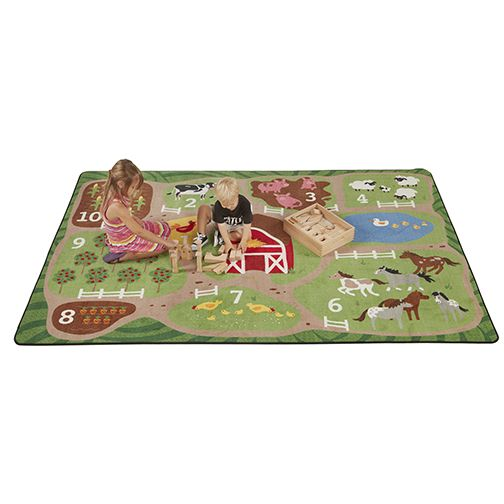 Children will enjoy learning as they count the farm with this durable activity rug. Practice numbers, colors, learn animals, fruits and vegetables, and so much more. Constructed using the highest density nylon fiber, edging is tightly bound and double-stitched for maximum strength and durability. The backing features a high-performance Action Bac™ system for skid-resistance to keep rugs safely in place.