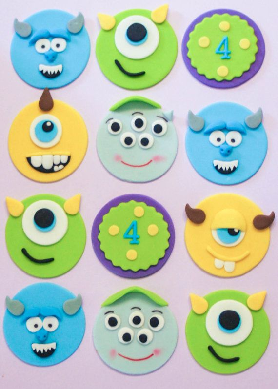 12 Monsters University Party Fondant Cupcake by ToppingItSweetly, $25.00