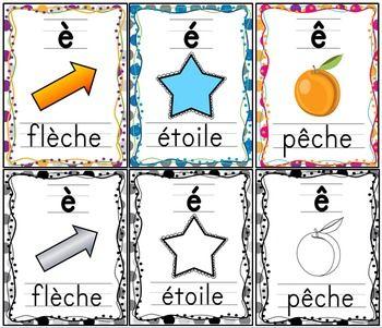 """Les sons - """"e"""" avec accents - 6 affiches GRATUITES: """"é"""", """"ê"""", """"è"""" en couleurs et noir et blanc."""