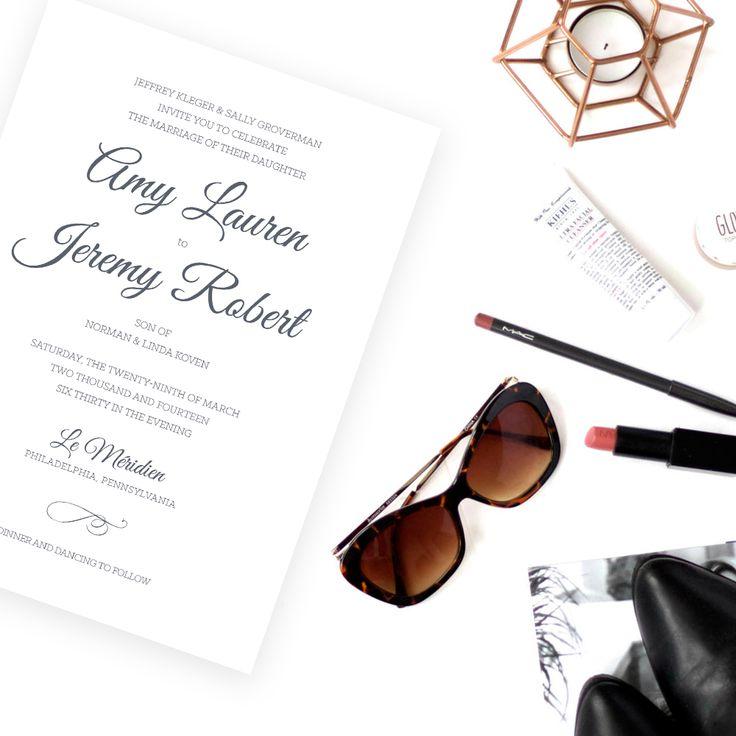 Chic Classic Wedding Invitation, Printable, Custom Invitation and Reply Card, Grey, Clean, Modern Script | Classy & Classic