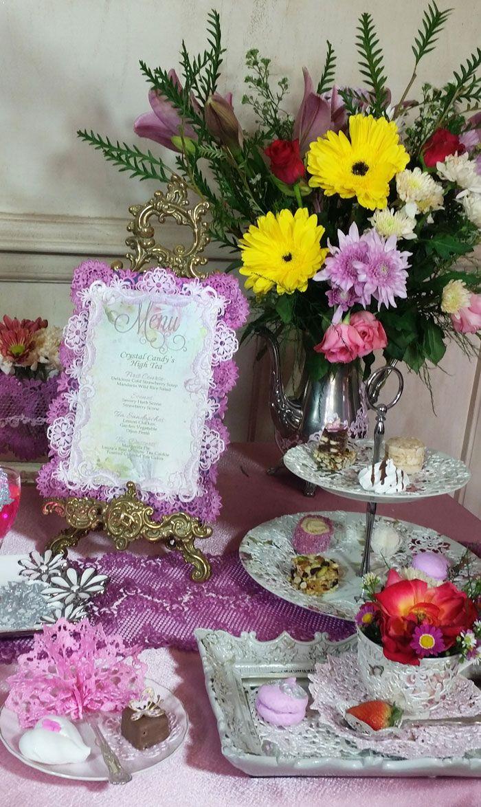 High tea table setting - Edible lace