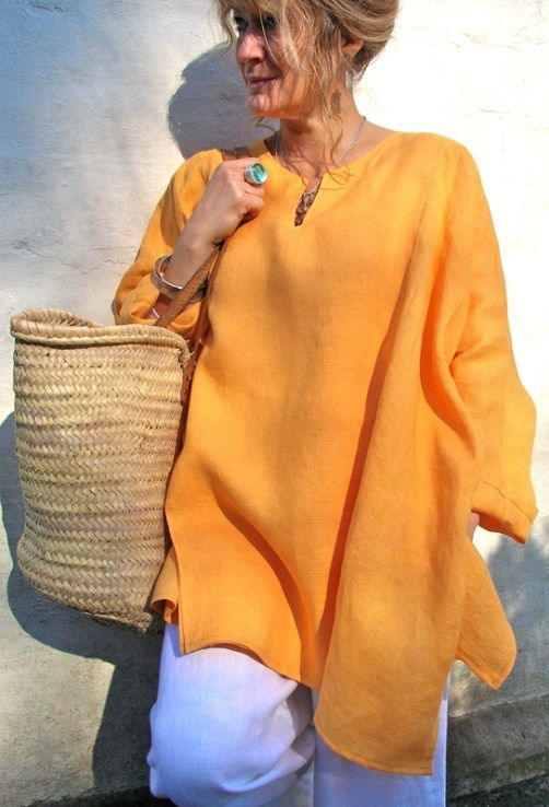 Greek Top in orange linen £198 over white Morocco Trousers £169.