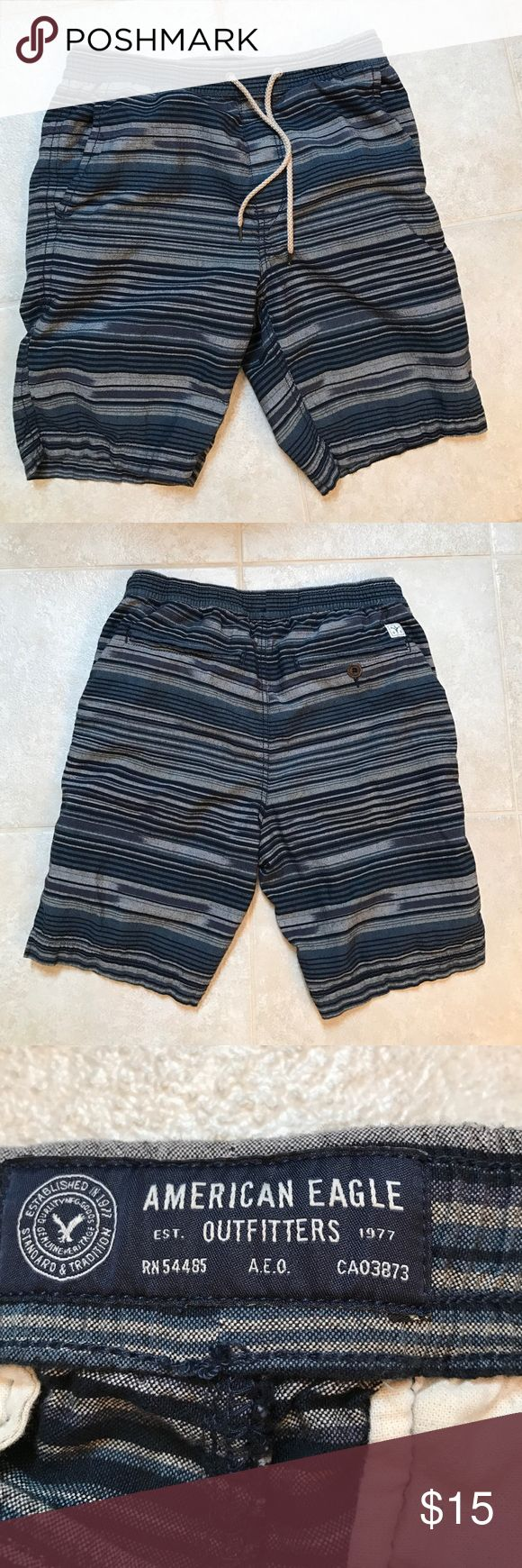 American Eagle men's small shorts American Eagle men's small blue black and grey striped shorts with drawstring waist.  Two pockets on front and back. American Eagle Outfitters Shorts