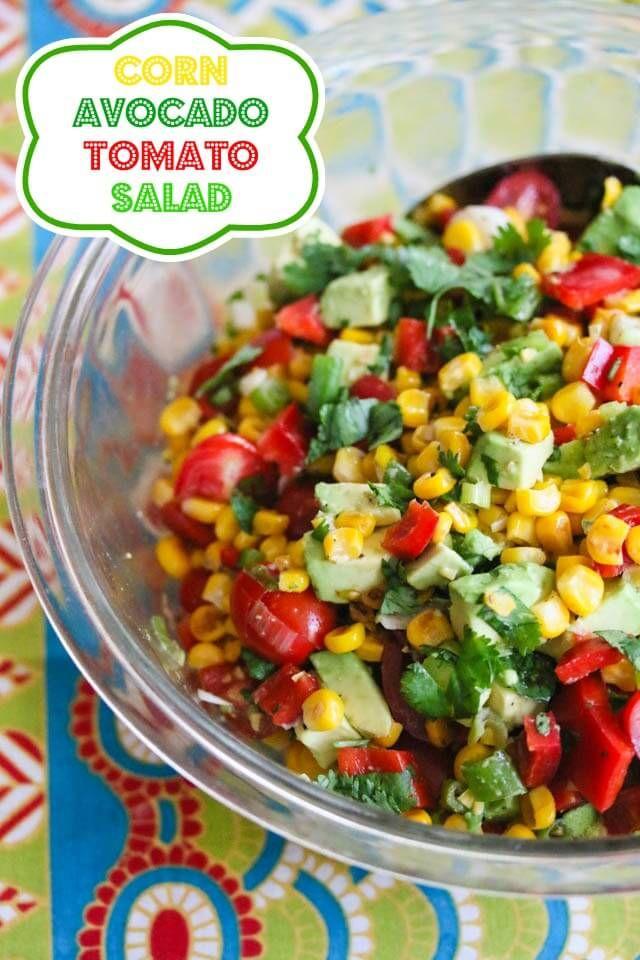 This looks like summer... Maybe also add cucumber. Corn Tomato Avocado Salsa Salad Recipe