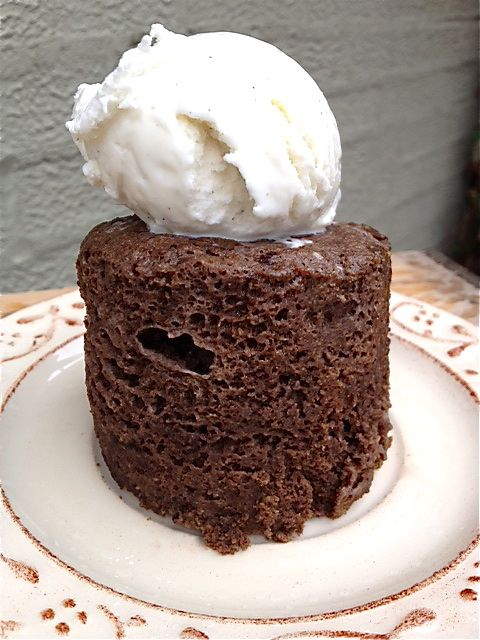Mug Brownie  Ingredients    1/4 cup ground flax seed  1 egg  1 tsp butter  1 tsp baking powder  1 tsp cocoa powder  1 tsp maple syrup  1/2 tsp vanilla  Directions    Combine all ingredients in a large mug and microwave for 50 seconds.  Pops right out – you don't even need to grease the mug.