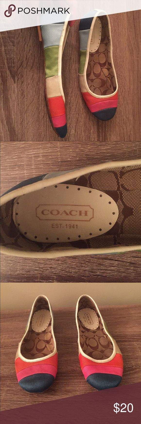Coach flats Cute multi color coach flats size 7. They are used and show signs of wear they have a few marks. The fronts show wear as shown in pictures but u can hardly notice when on.they are not holes in the front..Please feel free to ask questions Coach Shoes Flats & Loafers