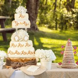 A rustic riverside wedding with some amazing hydrangeas and a Norwegian wedding cake