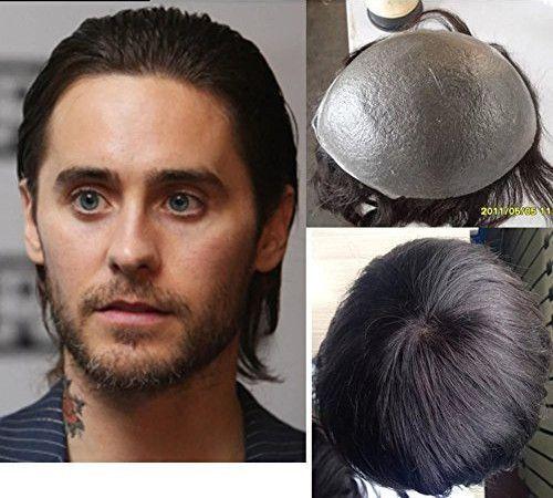 """N.L.W. European virgin human hair toupee for men with transparent Thin skin PU, 10"""" x 8"""" Straight hair pieces for men #2 Dark brown"""