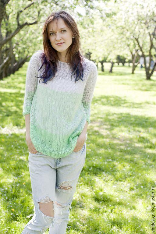 Купить Мятный свитер - мятный, свитер, свитер вязаный, свитер женский, свитер спицами
