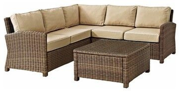 Biltmore 4-Piece Outdoor Wicker Seating Set, Sand transitional-outdoor-lounge-sets