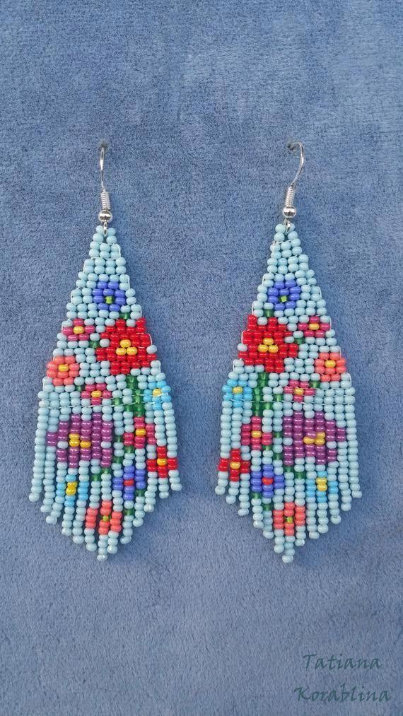 Beaded Earrings Patterns Free Beadedearrings Bead Work Beaded