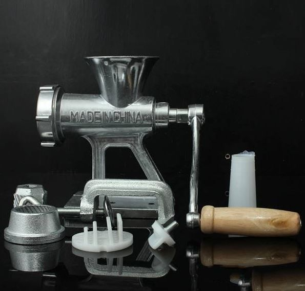Grinder Mincer Crank Meat Manual Hand Iron Cast Table